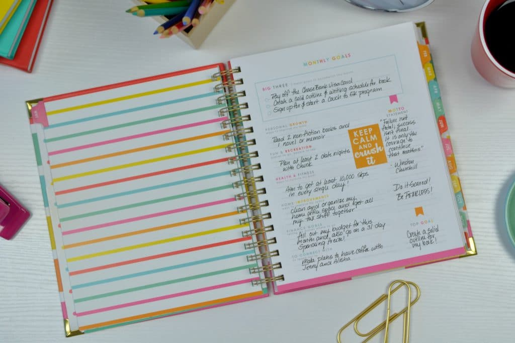 Your Living Well Planner will help you set your monthly goals using the Crush It system.