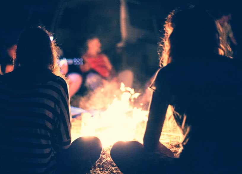 30806961 - people sit at night round a bright bonfire