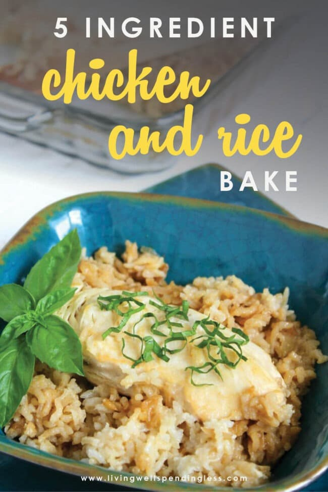 This delicious 5-Ingredient Chicken and Rice Bake whips up fast using a handful of pantry staples. Everyone will love this simple comfort meal!