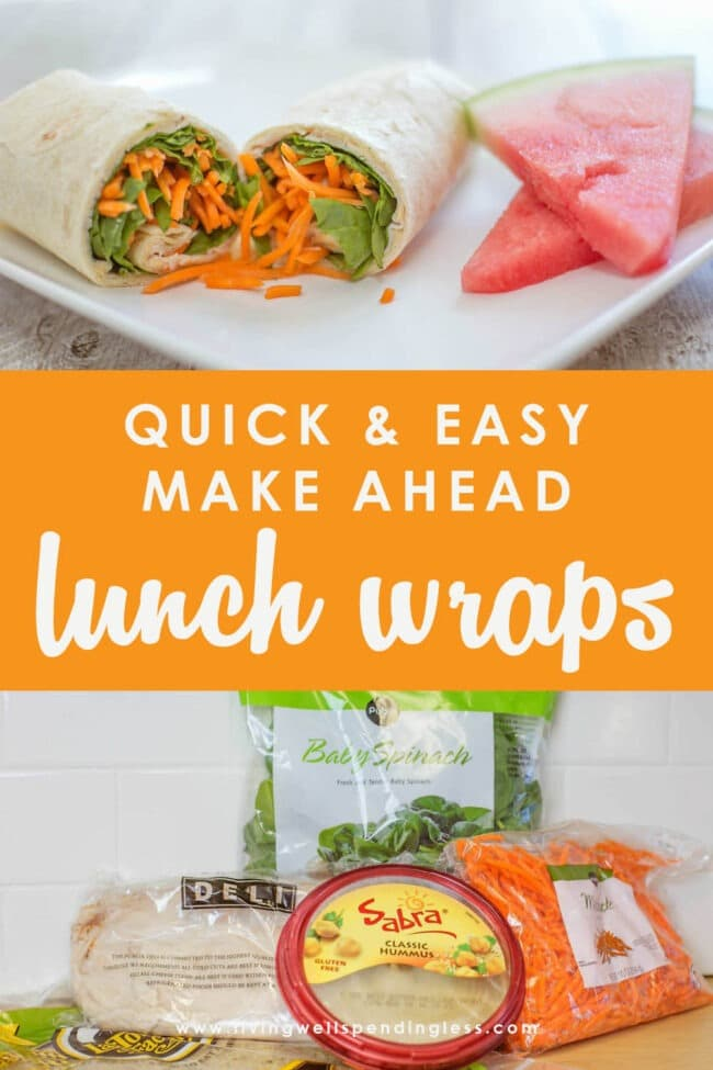 These delicious make ahead lunch wraps not only come together fast, they stay fresh in the fridge for up to 5 days. The flavors stay fresh all week long!