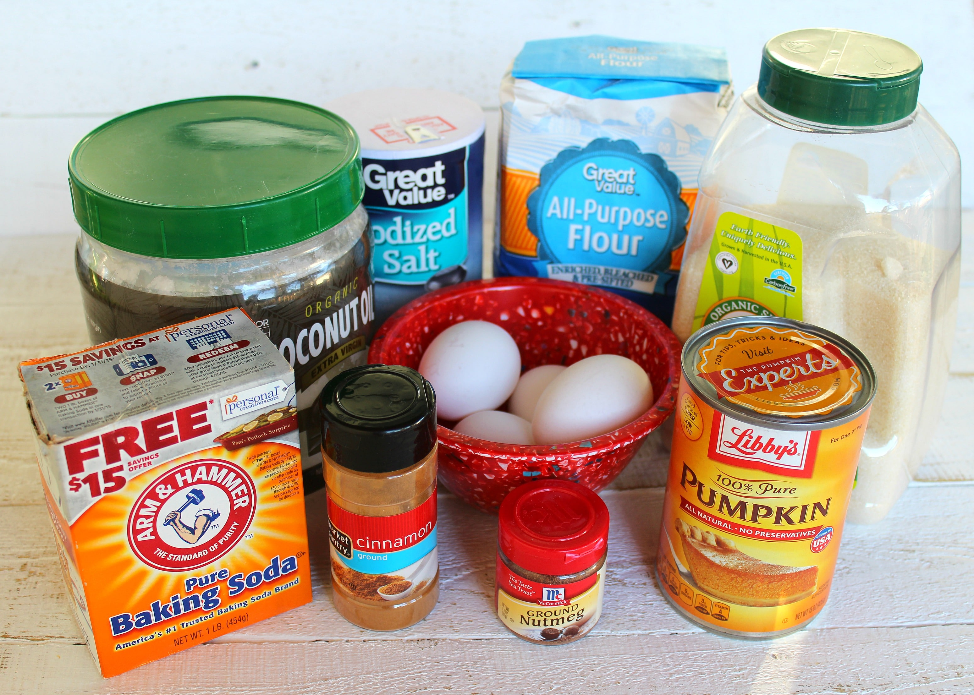 These are all the ingredients you need for this great pumpkin bread: baking soda, cinnamon, nutmeg, pumpkin, flour, salt, coconut oil, sugar and eggs.