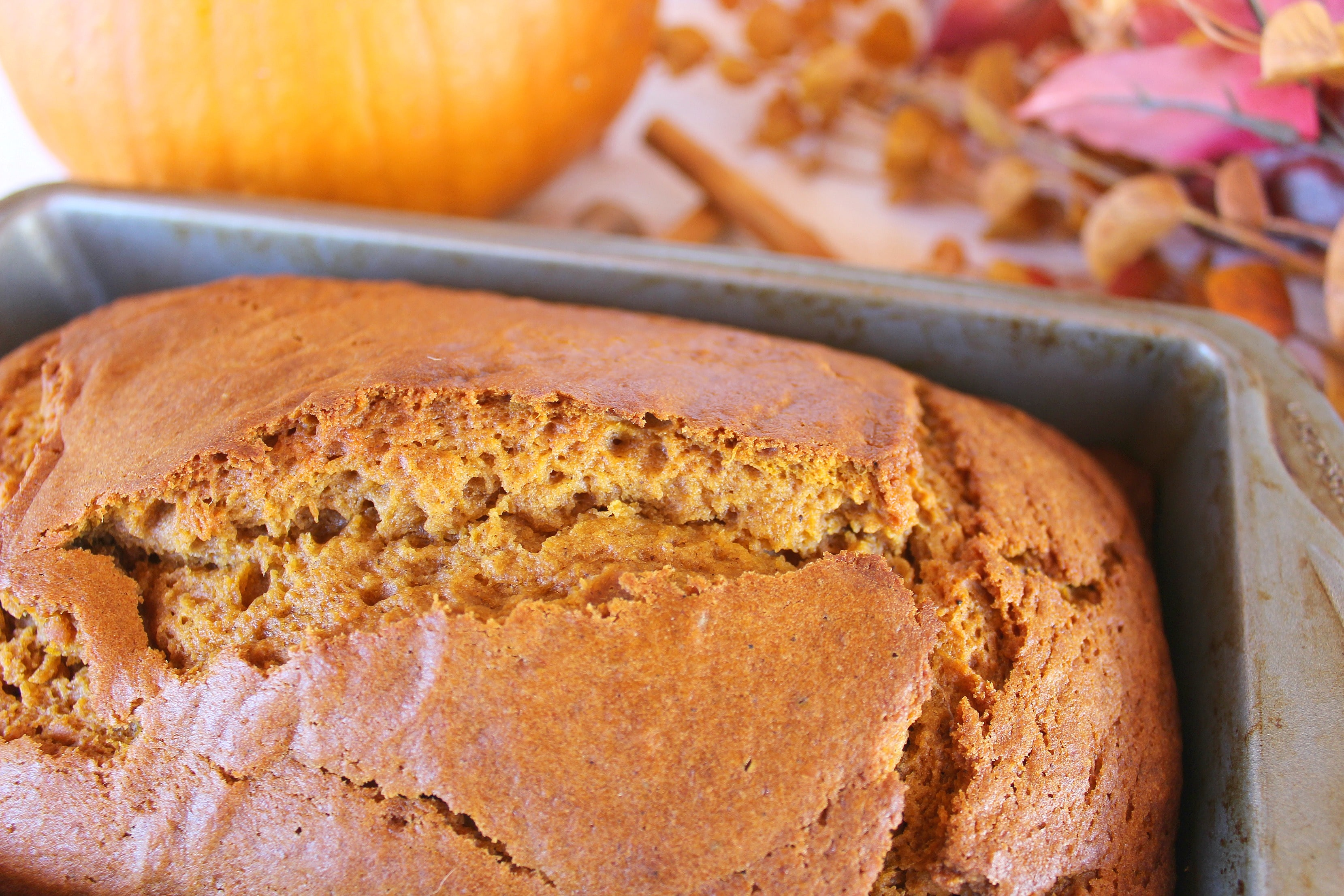 Once your pumpkin bread is done baking allow it to cool before cutting.