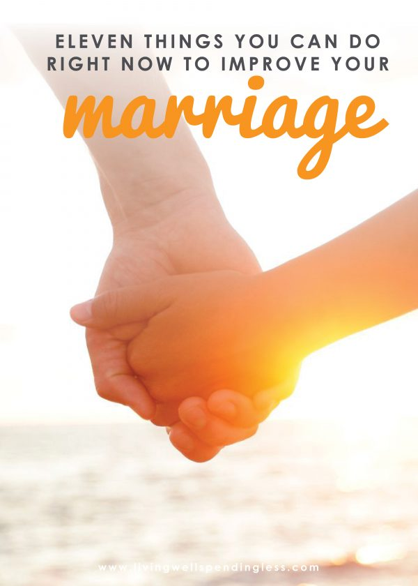 Let's face it--marriage can be a challenge sometimes! If you and your spouse have ever found yourself just going through the motions, you won't want to miss these 11 simple things you can do right now to improve your marriage. It's a must read whether you've been married for 5 months or 50 years!