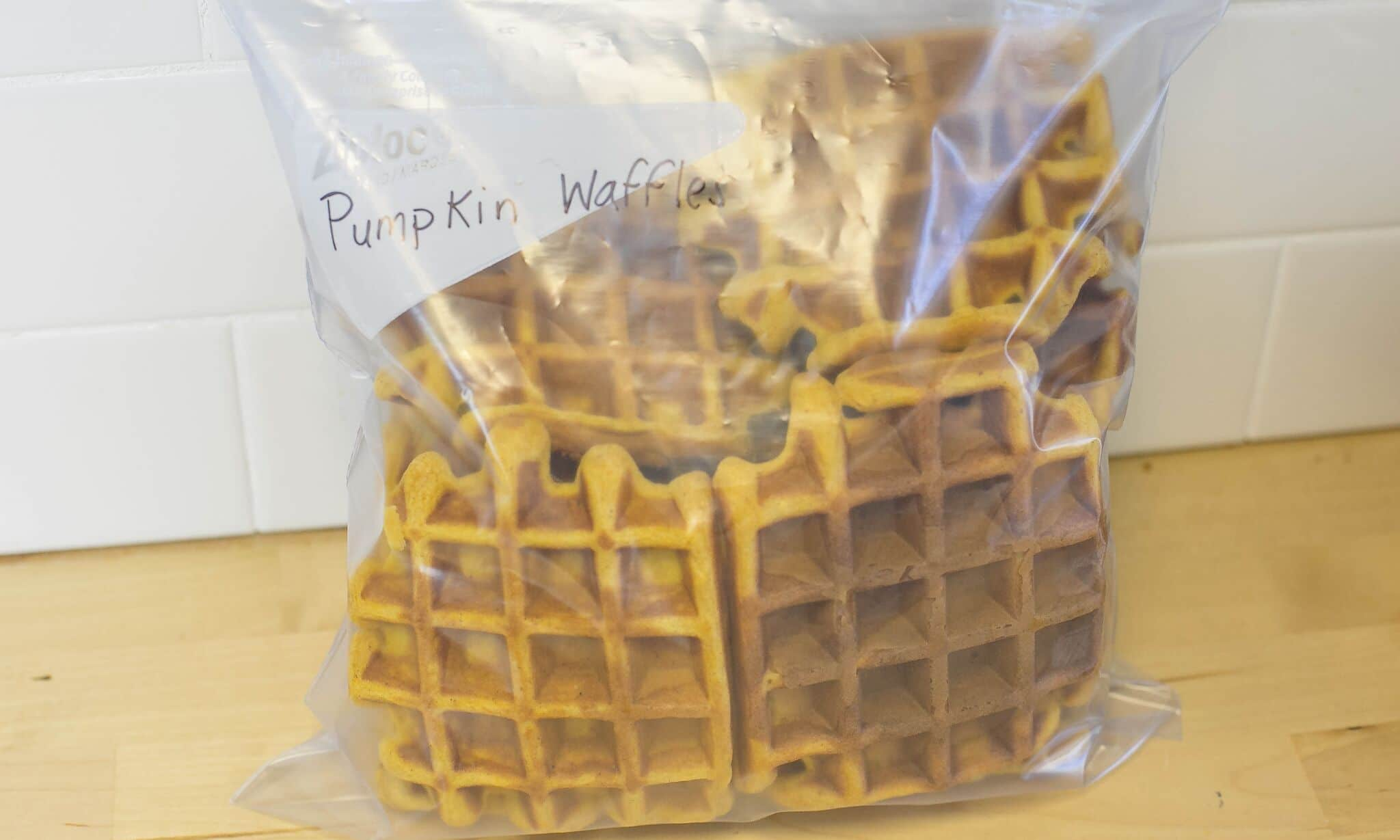 Cool pumpkin waffles then place into freezer bag to store.