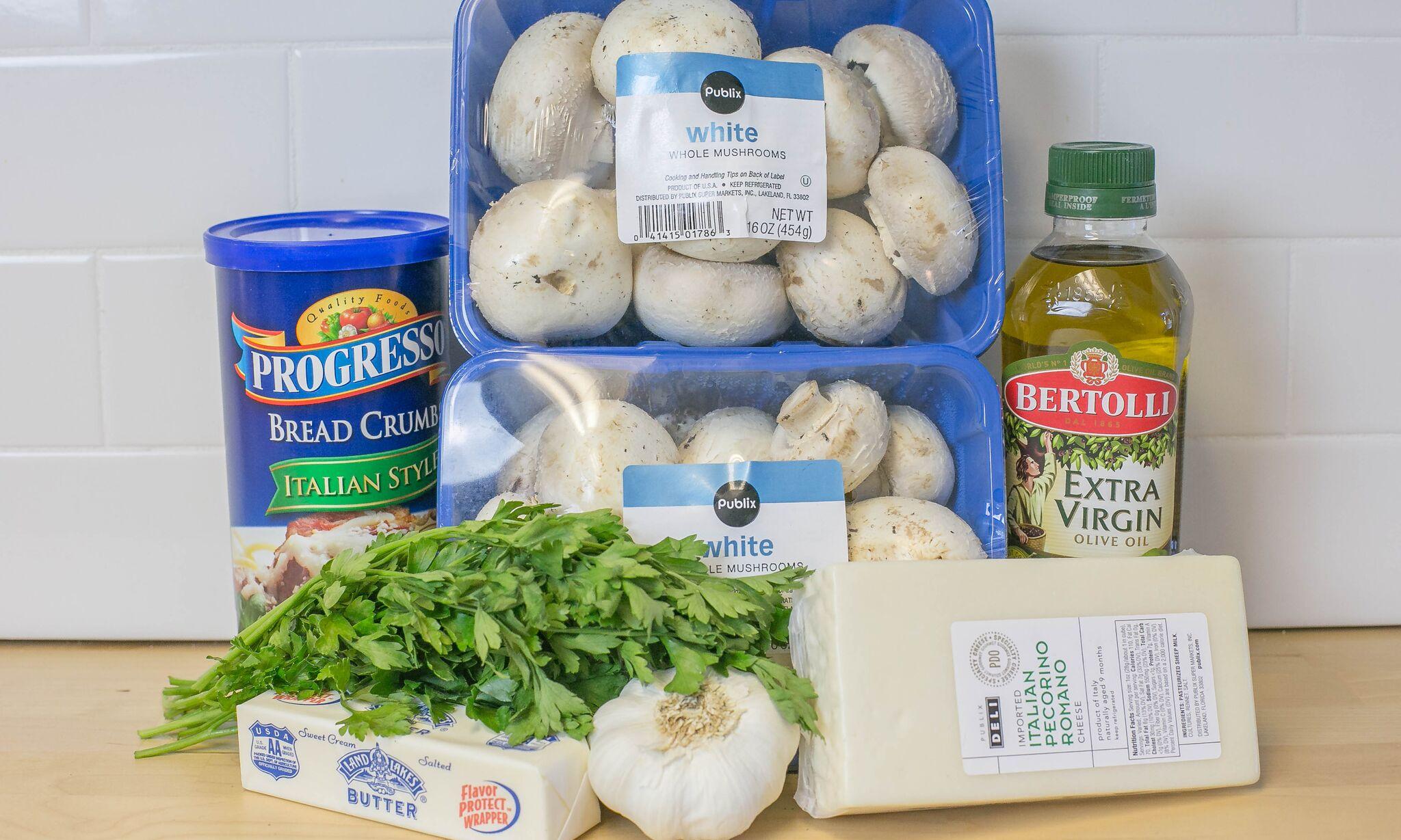 Simple Stuffed Mushrooms ingredients.