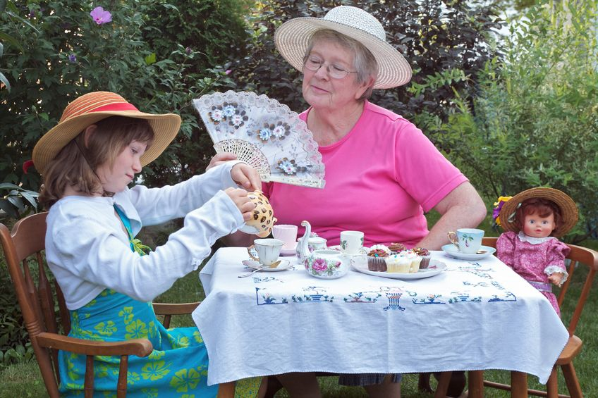 Spending time with kids or grand kids (like a fancy tea party) often means more than another gift .