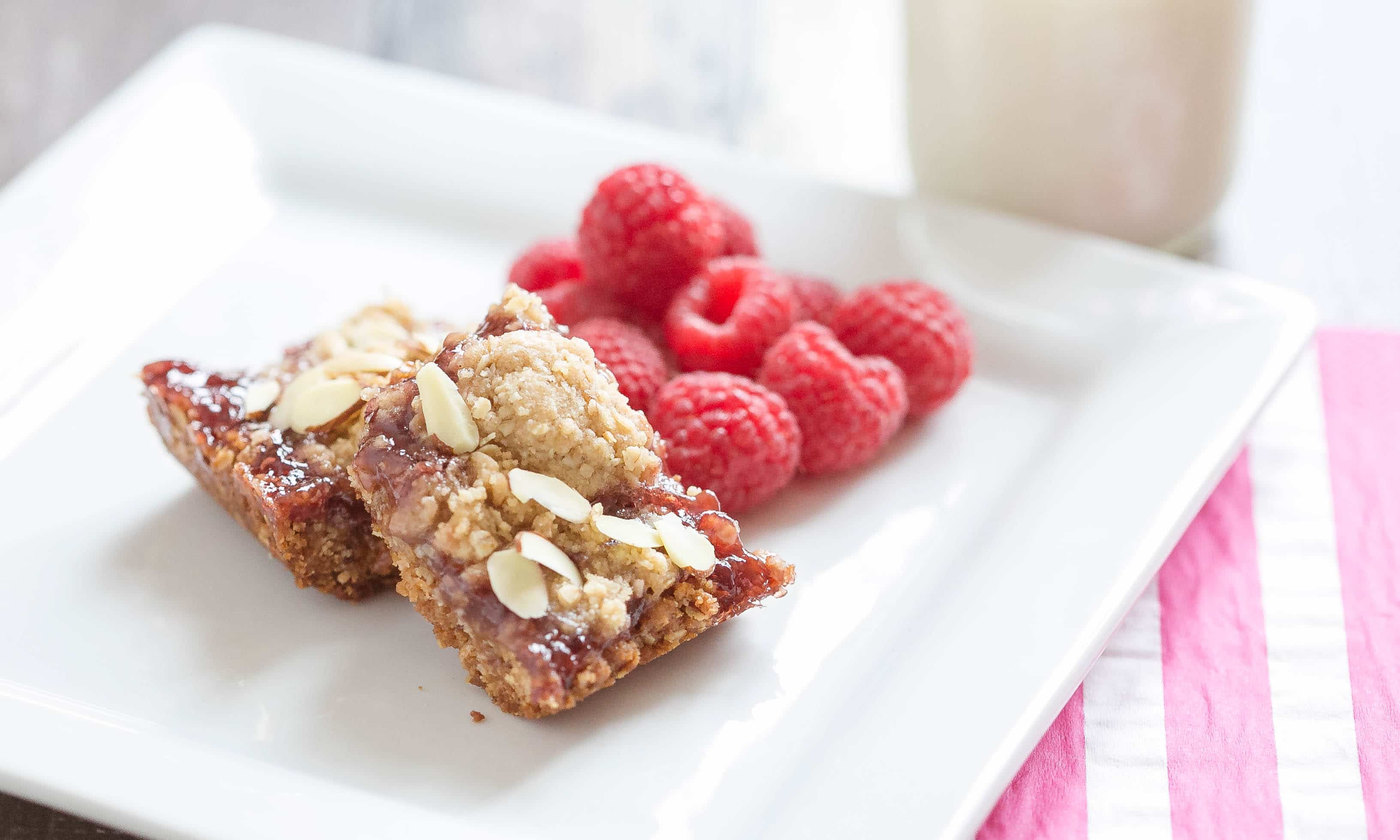 Cut into bars and serve with fresh raspberries.