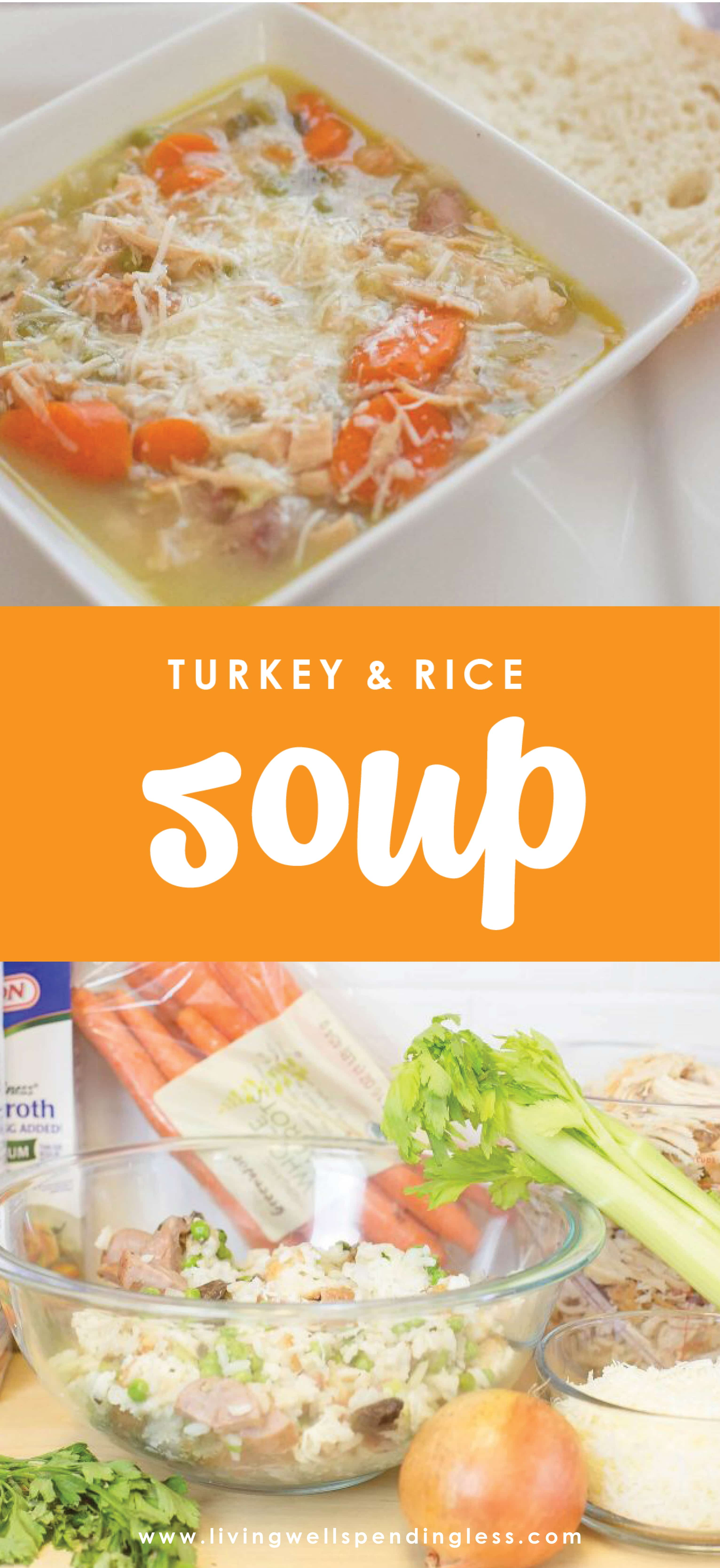 This deliciously simple Turkey & Rice Soup is the perfect way to use up all those holiday leftovers, and with just a few super simple ingredients, comes together in minutes (and is freezer friendly too!)