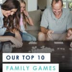 Need a few new ideas for family game night or some surefire-hit Christmas gift ideas? Don't miss this awesome review of ten wonderful family games that are fun for kids (ages 7 and up) AND adults. Includes details on each games with ratings by both kids & parents. It's a must-read for every parent, grandparent and babysitter! #familygames #games #bestfamilygames #bestgames #bestboardgames #boardgames