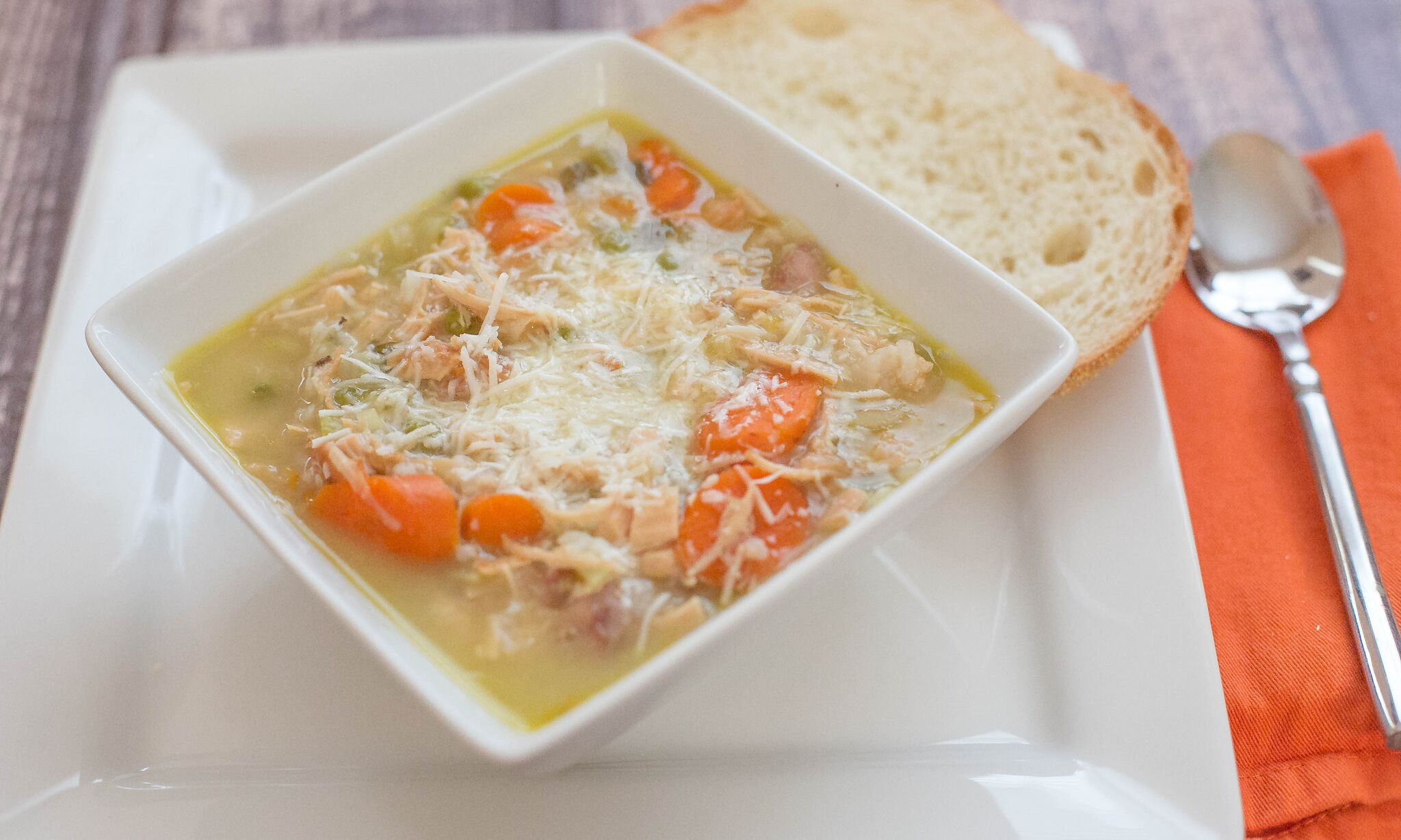 Turkey & Rice Soup | Serve this soup in a bowl topped with shredded parmesan cheese and with a slice of bread.