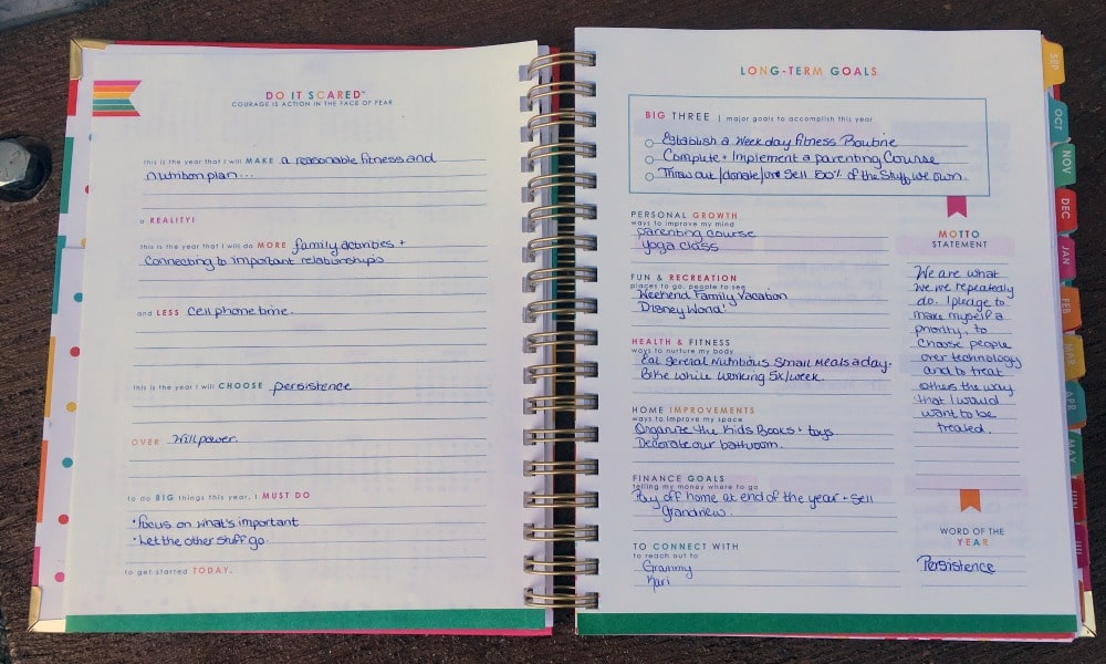 The Living Well Planner has sections on goal planning for both the short and long term.