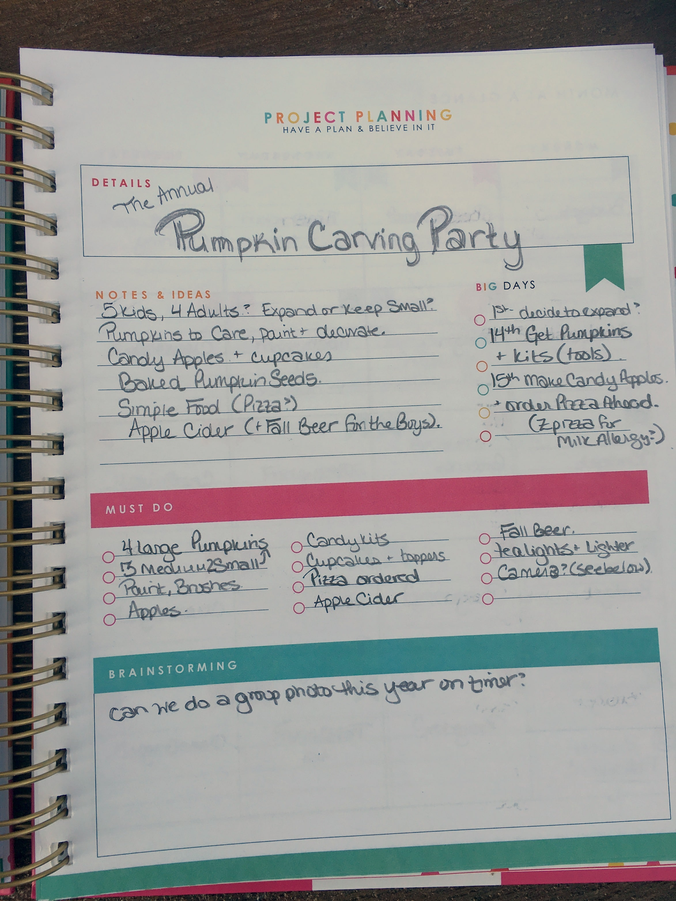 The Living Well Planner has the perfect sections for project planning!