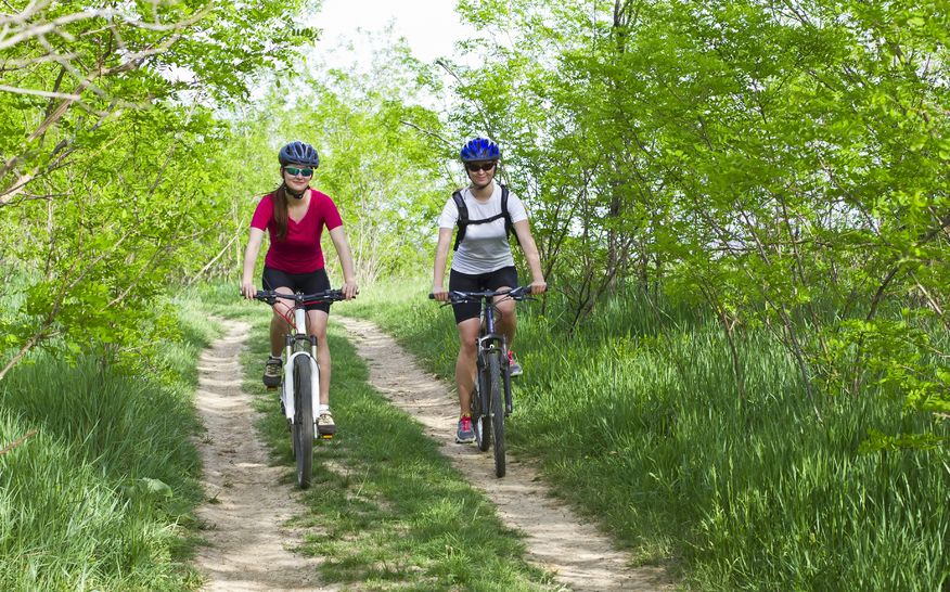 Challenge your friend to a healthy activity like hitting the bike trail for some off-roading.
