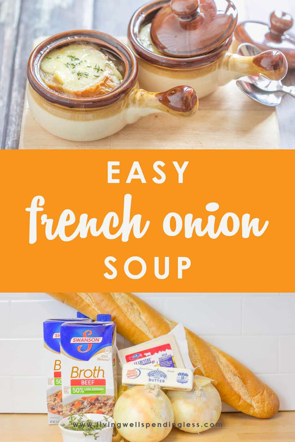 This ridiculously easy French Onion Soup comes together fast, then goes straight from the freezer to the slow cooker for an effortless meal that still feels extra special. Perfect for lunch or dinner. #crockpot #soup #wintersoups #frenchonionsoup #healthydinner #quickdinner #freezercooking #foodmadesimple #30minutemeal #homemade