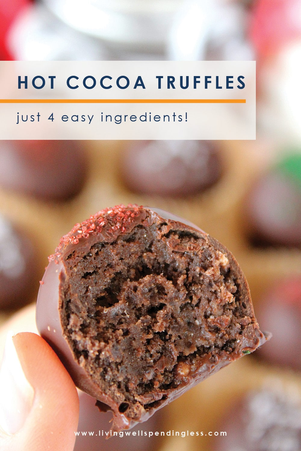 Craving a sweet treat for the holidays? These ridiculously easy Hot Cocoa Truffles come together in minutes with just 4 easy ingredients! Perfect for gifts or just because--and believe us, once you try them, you'll be hooked! #recipes #dessertrecipes #holidayrecipes #chocolaterecipes #trufflerecipes #simplerecipes #5ingredientsorless #giftideas #homemadegifts #holidays