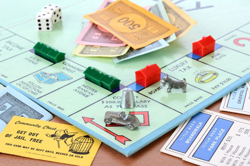 A game of Monopoly set up and ready to go.