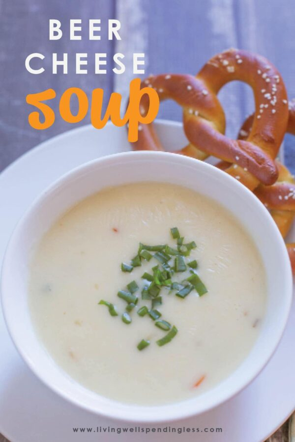 What's better than beer and cheese? This super simple beer cheese soup combines the two into the ultimate comfort food and it's oh-so-good! It's super simple to make and comes together fast for a hearty meal the whole family will love! You'll have a meal ready in no time. Did we mention it's the best beer cheese soup recipe ever? #soups #comfortfood #heartysoup #beerandcheesesoup #beer #cheese #cheesesoup #quickdinner #recipes #easyrecipes #souprecipes #simplerecipes