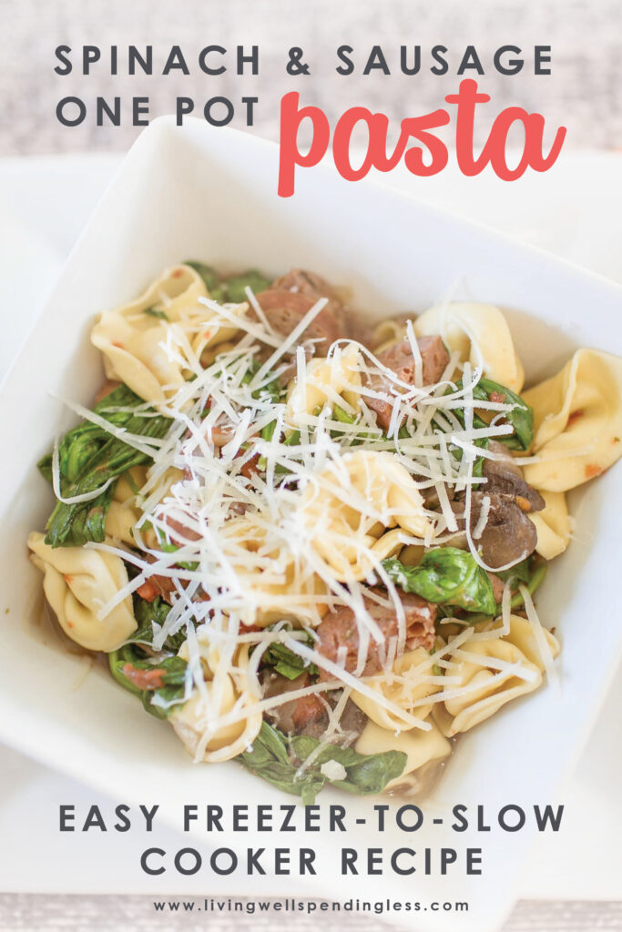 This delicious spinach & sausage one pot pasta dish is the perfect way to get dinner on the table in record time! It comes together in minutes and is freezer friendly too! #onepotpasta #comfortfood #freezerfriendlyrecipe #fallflavors