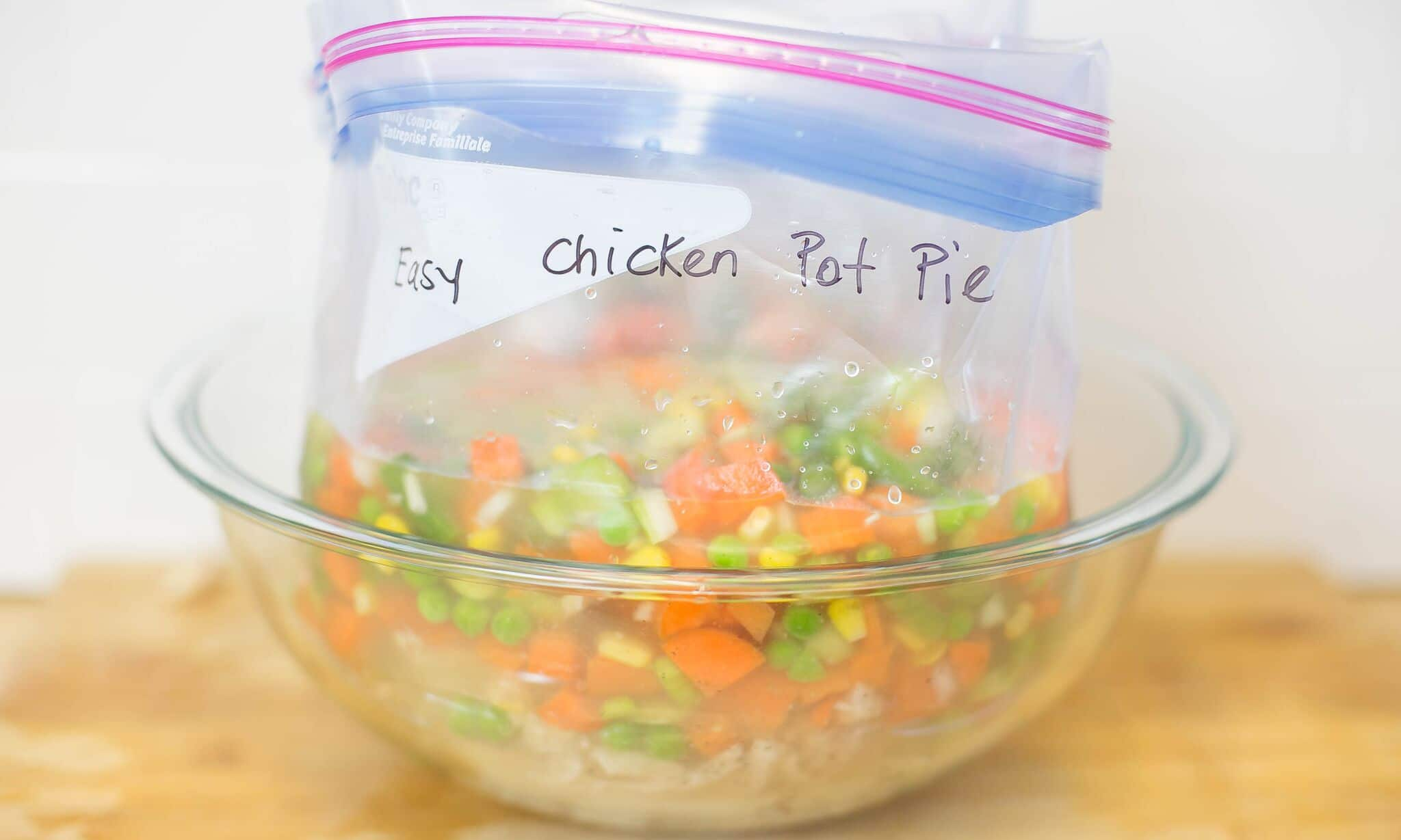 Divide chicken, stock and veggie mixture into 2 gallon size freezer bags