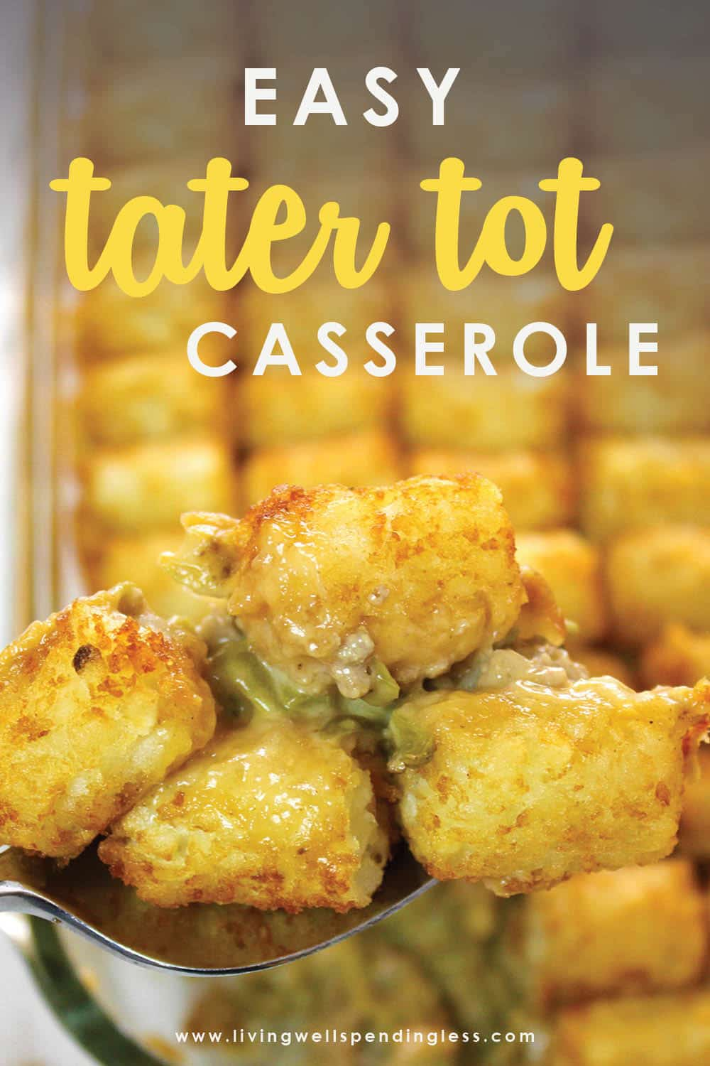 Looking for an easy comfort food dinner that your whole family will love? This simple Tater Tot Casserole is the perfect go-to comfort food recipe!