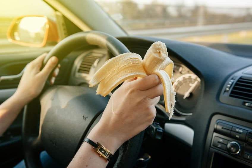 Make the car a no eating zone if possible to keep it clean and free of crumbs and spills. Ever feel like you LIVE in your car? It's easy to slip into a habit of letting the chaos and clutter inside our vehicles get totally out of control. Unfortunately sometimes all that on-the-go-living leaves us feeling even more stressed! Here's how to get and keep your car clean....permanently! (And yes, it really is possible!) #decluttering #cleaning #cleaningtips #declutteringtips #carcleaningtips #tidyingup