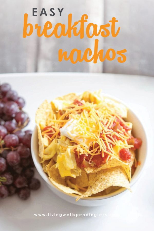 These oh-so-yummy (and gluten free!) breakfast nachos come together in minutes with just 5 simple ingredients.  They are a super fun alternative to plain old scrambled eggs and can be adjusted to serve 1 person or 10.  Breakfast just got a whole lot better!