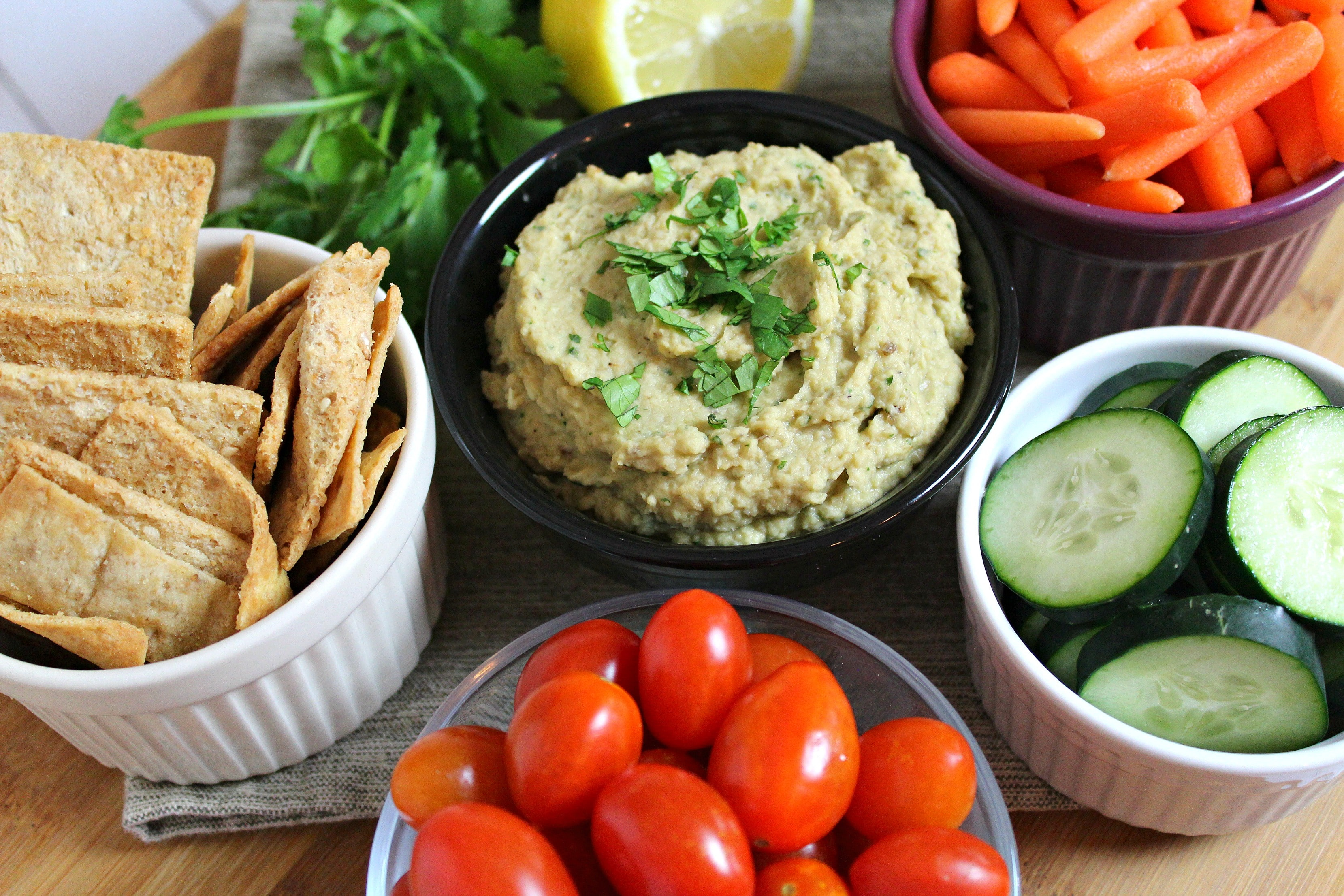Serve hummus dip with veggies or crackers, or use as a sandwich spread.