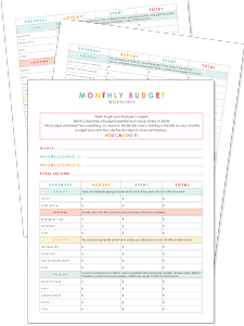 Download these easy budget worksheets to help you stay on track!