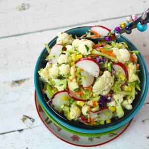 Cauliflower & Broccoli Slaw Salad | Cauliflower Slaw Salad | Lite Salad Recipe | Food Made Simple | Easter Recipes