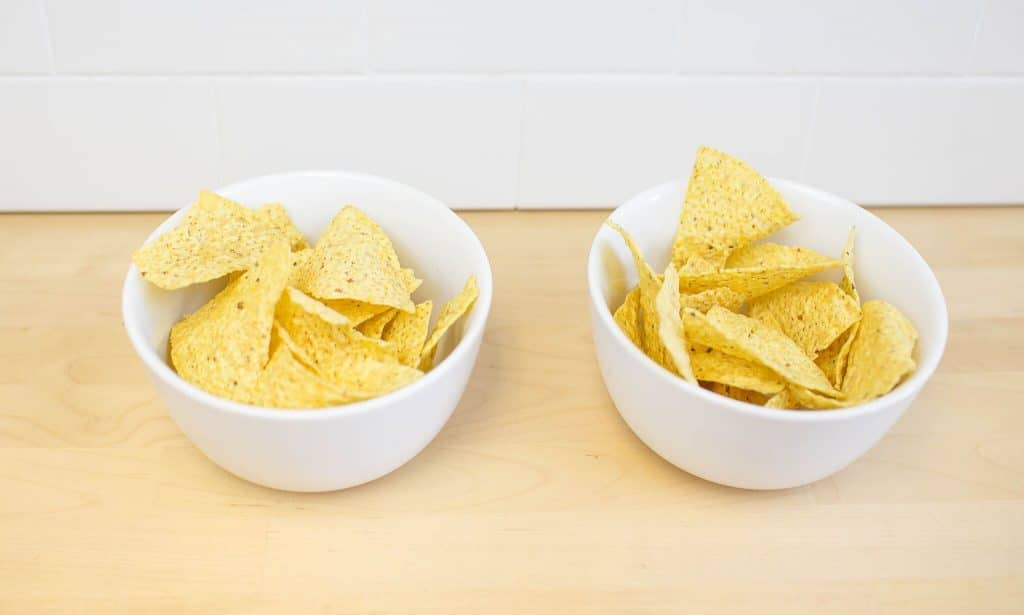 Step 1- fill bowls with chips
