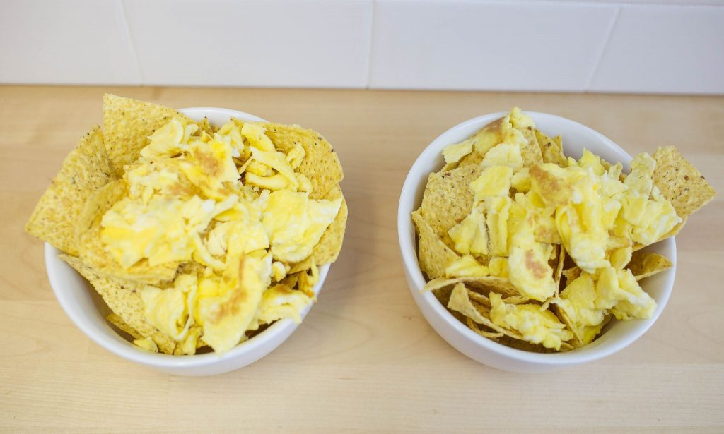 step 3- place eggs over chips