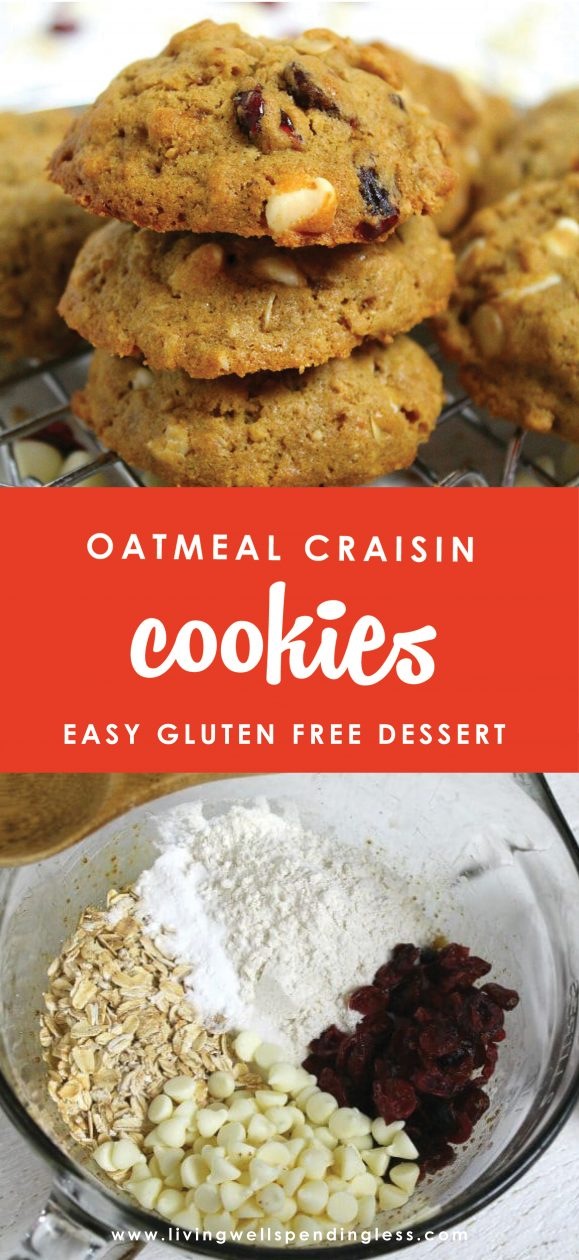Nothing says love like soft oatmeal cookies. Tangy dried cranberries, sweet white chocolate chips and chewy oatmeal come together for a cookie so good, you'll never believe it's gluten-free! It might just be the perfect cookie!
