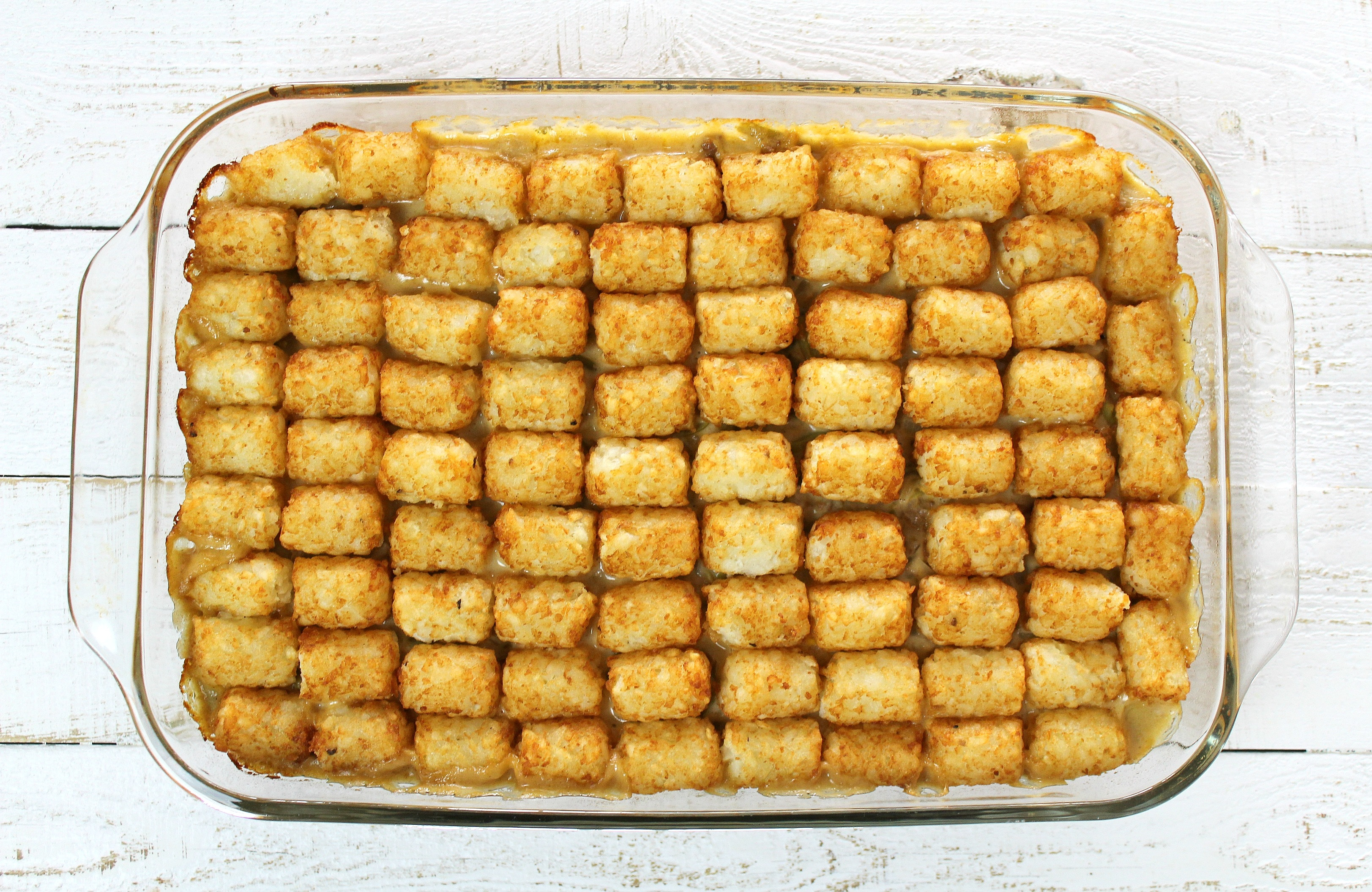 Tater Tot Casserole | Bake the casserole for 20-25 minutes, until the tater tots are golden brown.
