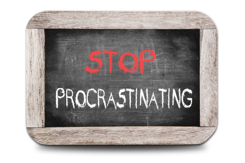 Ending all procrastination is key to paying off debt.