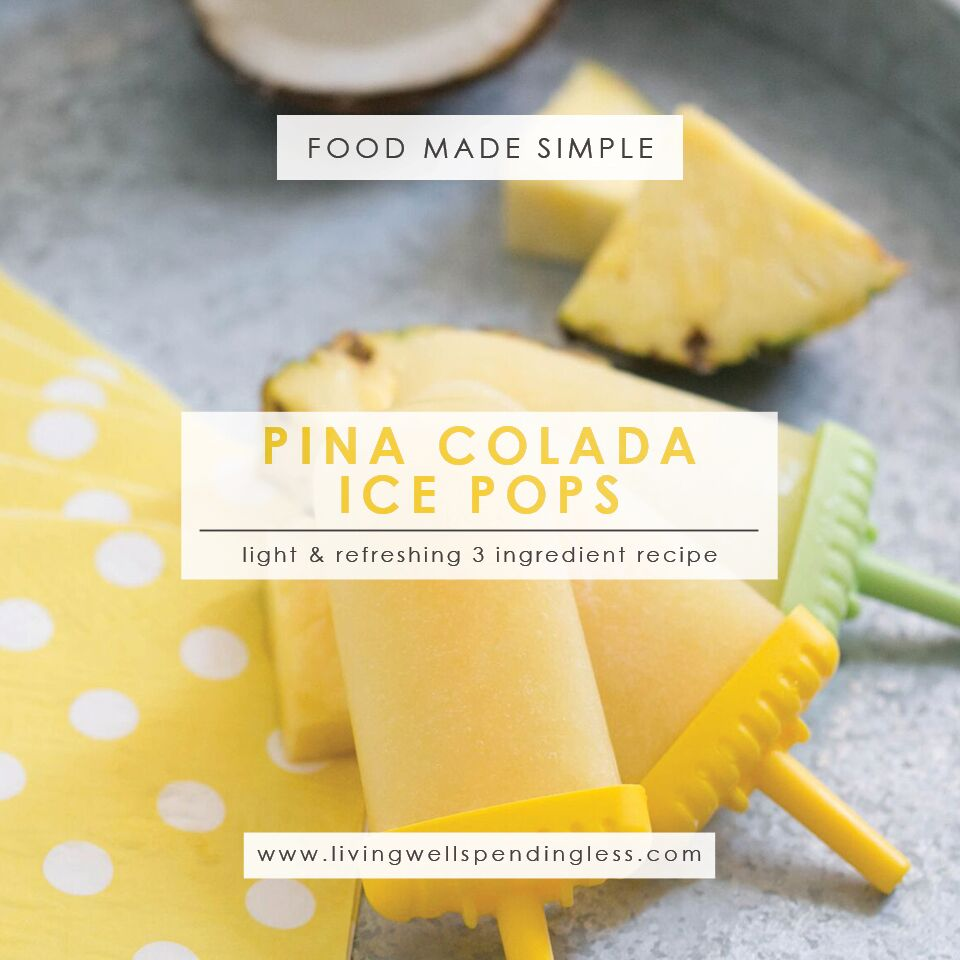 Light Pina Colada Popsicles | Summer Desserts | Popsicle Recipe | Food Made Simple | 3 Ingredient Dessert | Desserts with a Twist