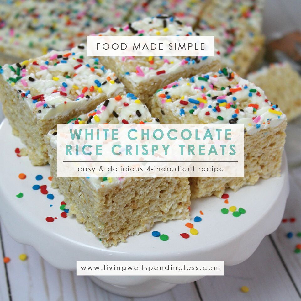 White Chocolate Rice Crispy Treats | Rice Crispy Recipe | White Chocolate Recipe | Snack Ideas | Dessert Ideas | Simple Rice Crispy Treats Recipe | Marshmallow Dessert