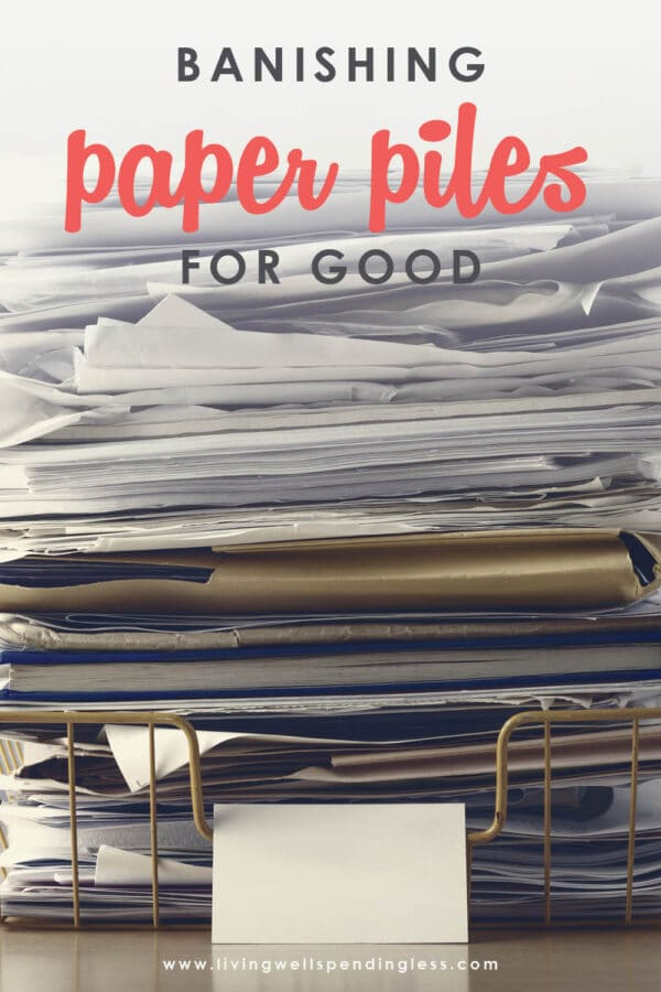 Ever feel like you are drowning in a sea of paperwork? The struggle is real! Use these 8 simple ways to eliminate paper clutter once and for all! #decluttering #tidyingup #paperclutter #cleaning #hometips