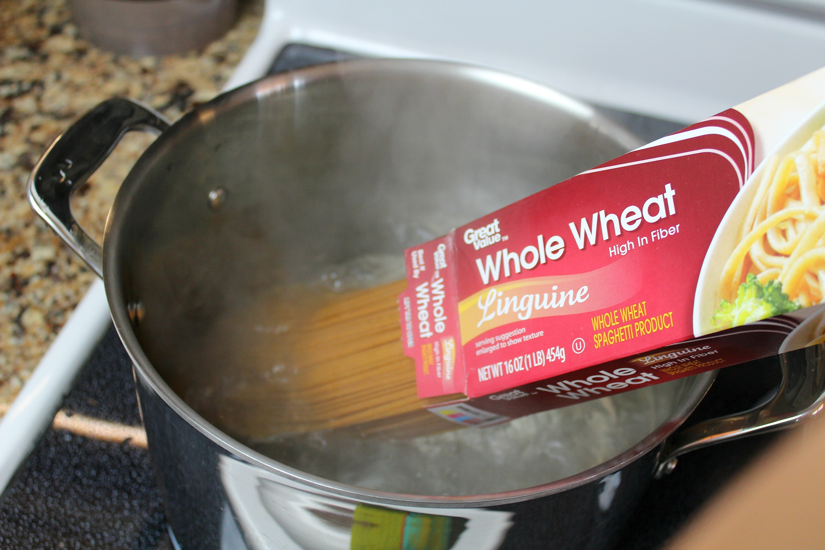 Add pasta to boiling water