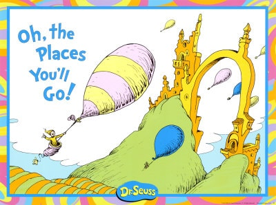 Dr. Seuss's Oh The Places You'll Go book is a popular back to school tradition for parents with younger kids