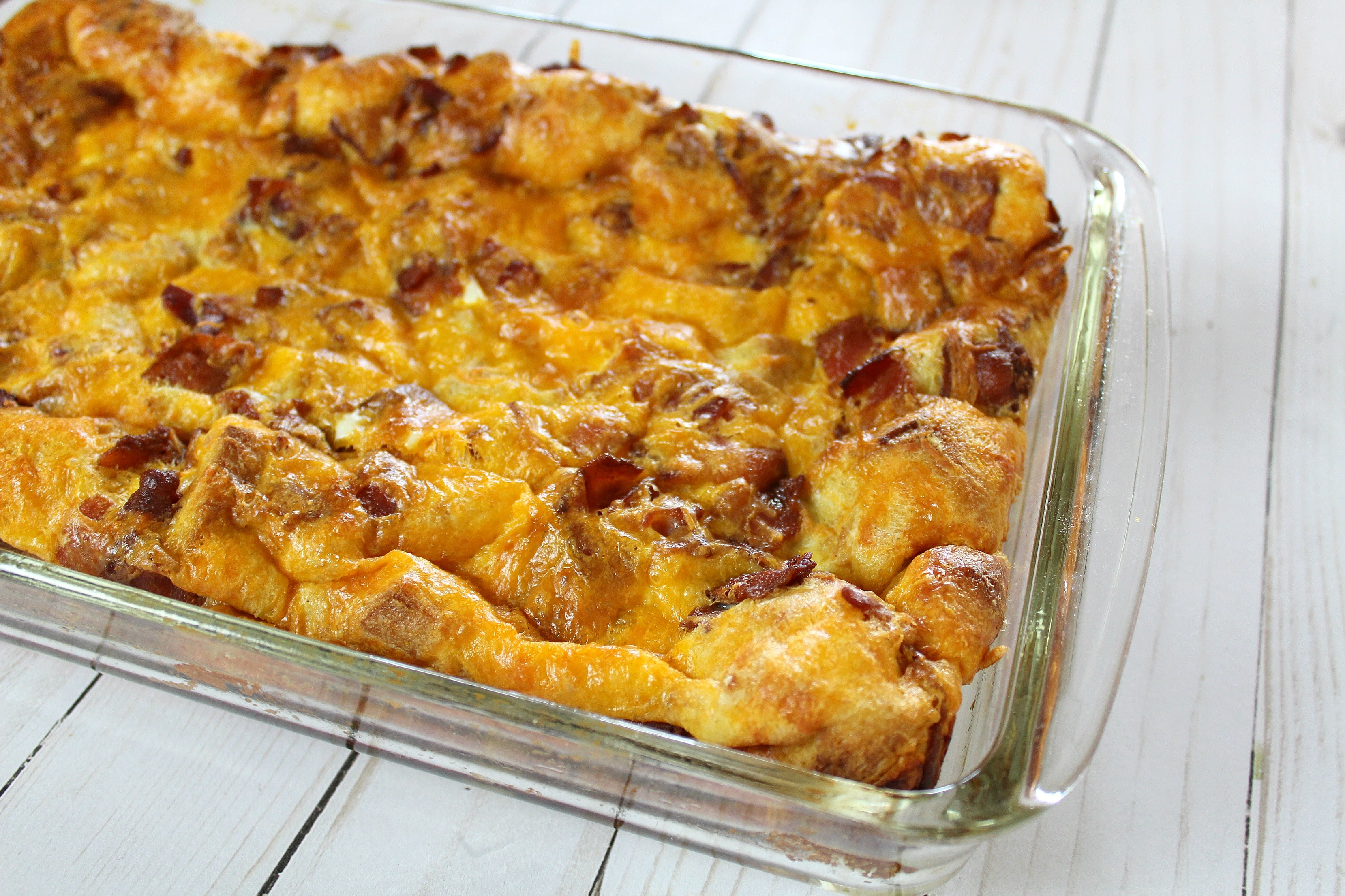 Bake casserole for about 45 minutes, until cheese is golden brown.
