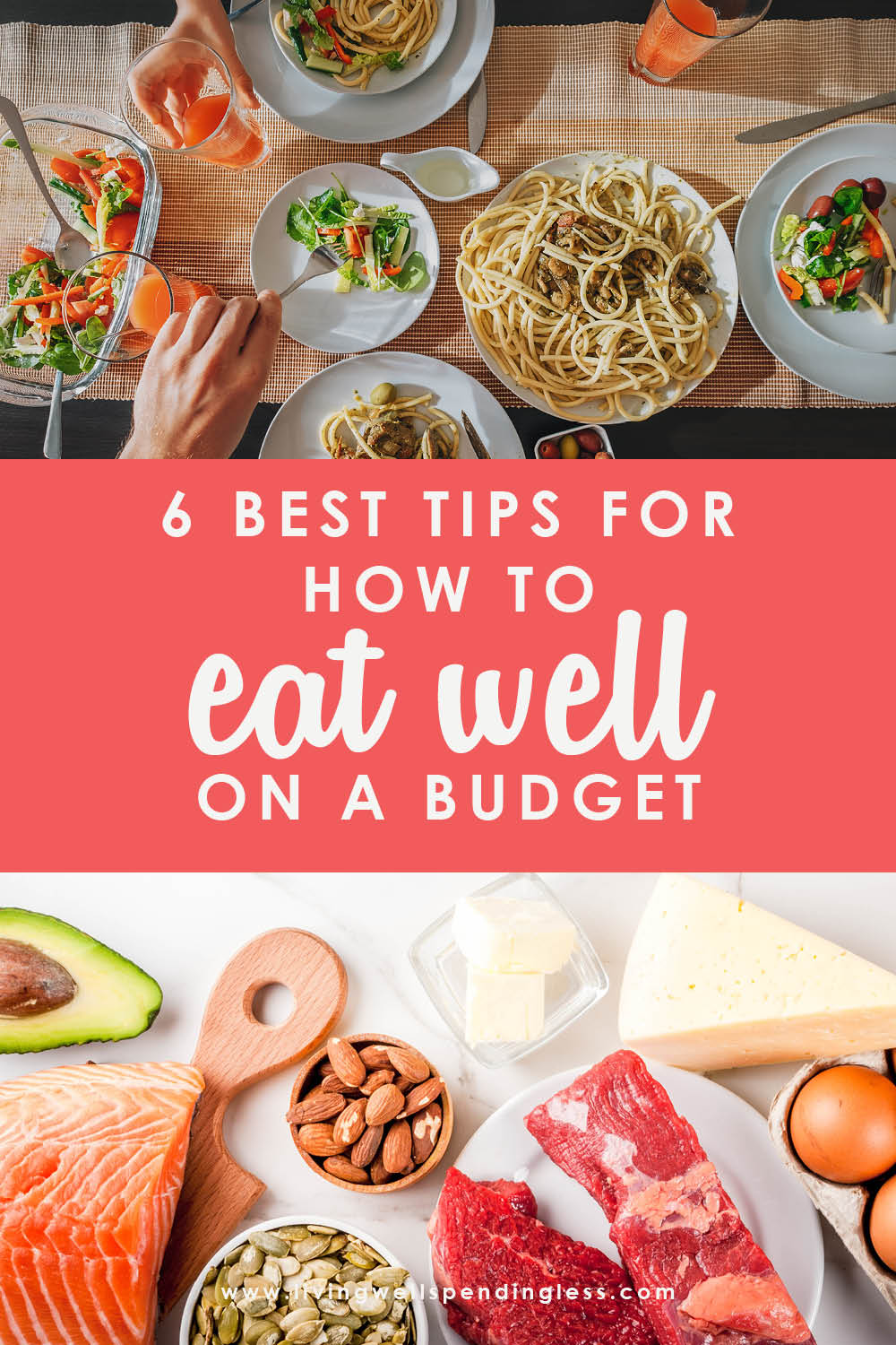 Think eating healthy has to cost a fortune? These tips for how to eat well on a budget will shed some light on nutritious meals the whole family will love! #healthfuleating #eatingonabudget #mealsavingtips #moneysavingtips #grocery #affordableeating #grocerymoneysavingtips #eatwell #grocerybudgettips