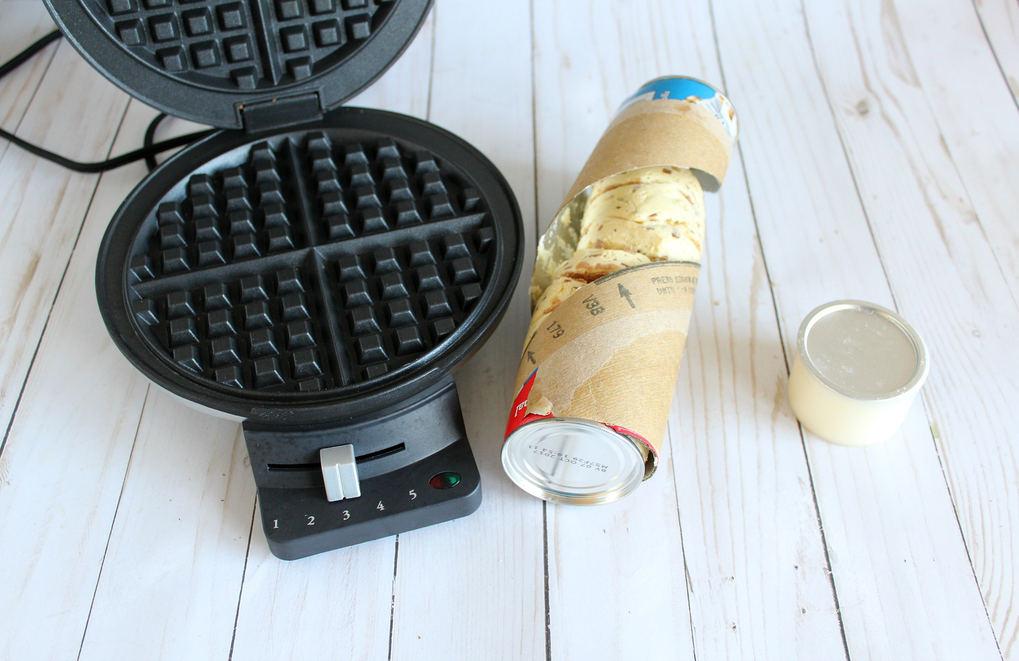 Preheat your waffle iron and prep with cooking spray