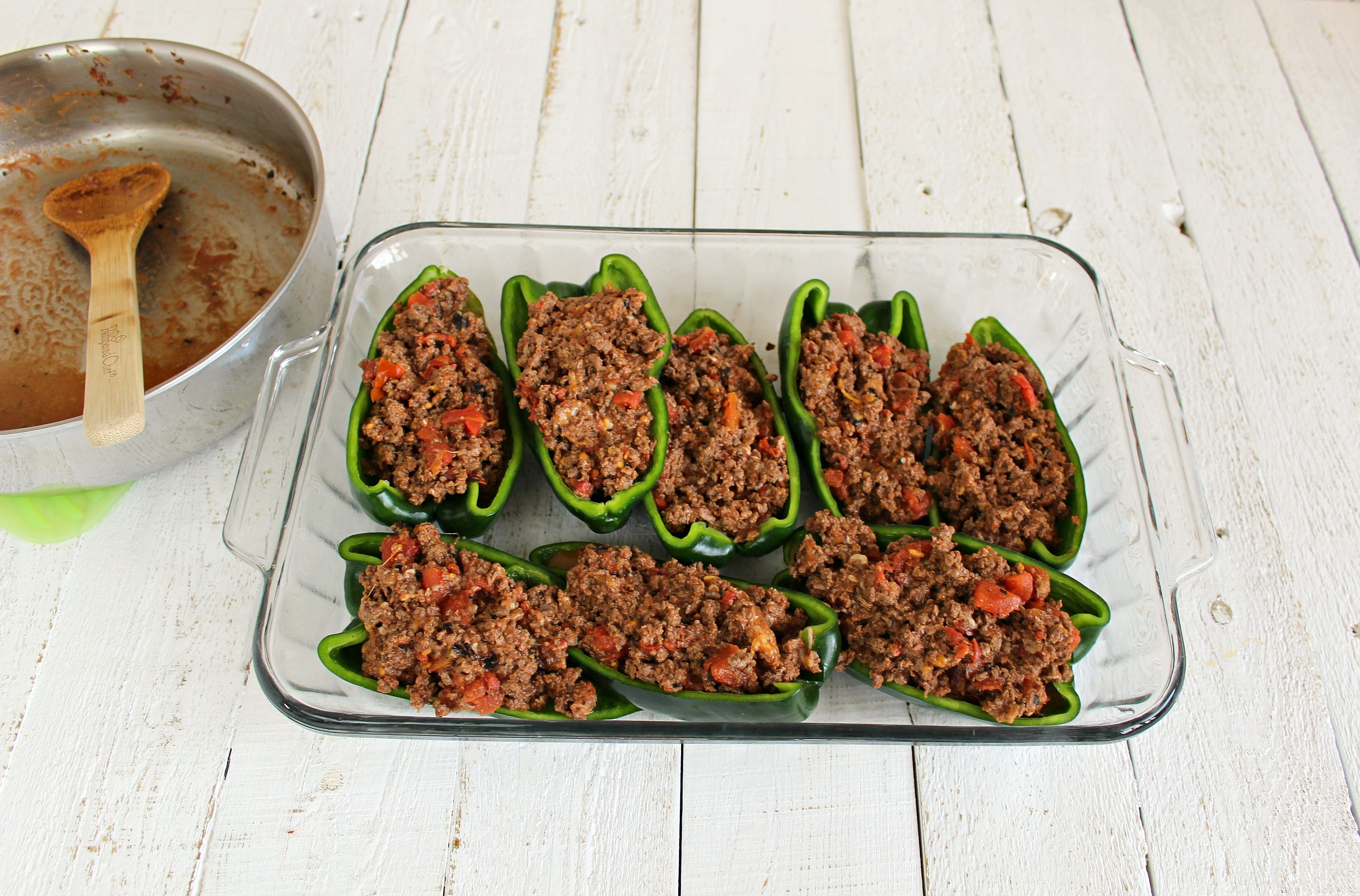 Stuff Poblano peppers with ground beef mixture.