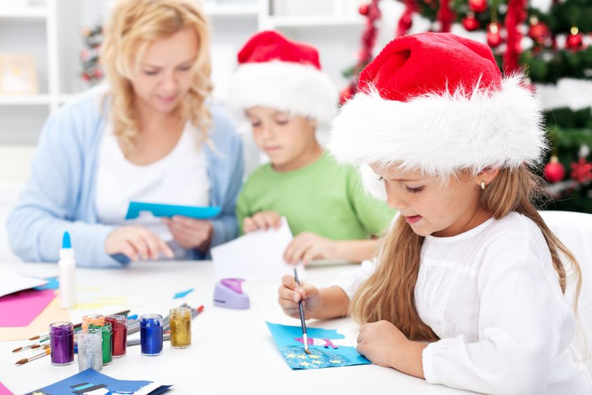 Have your kids help with hand decorating Christmas cards for the family.