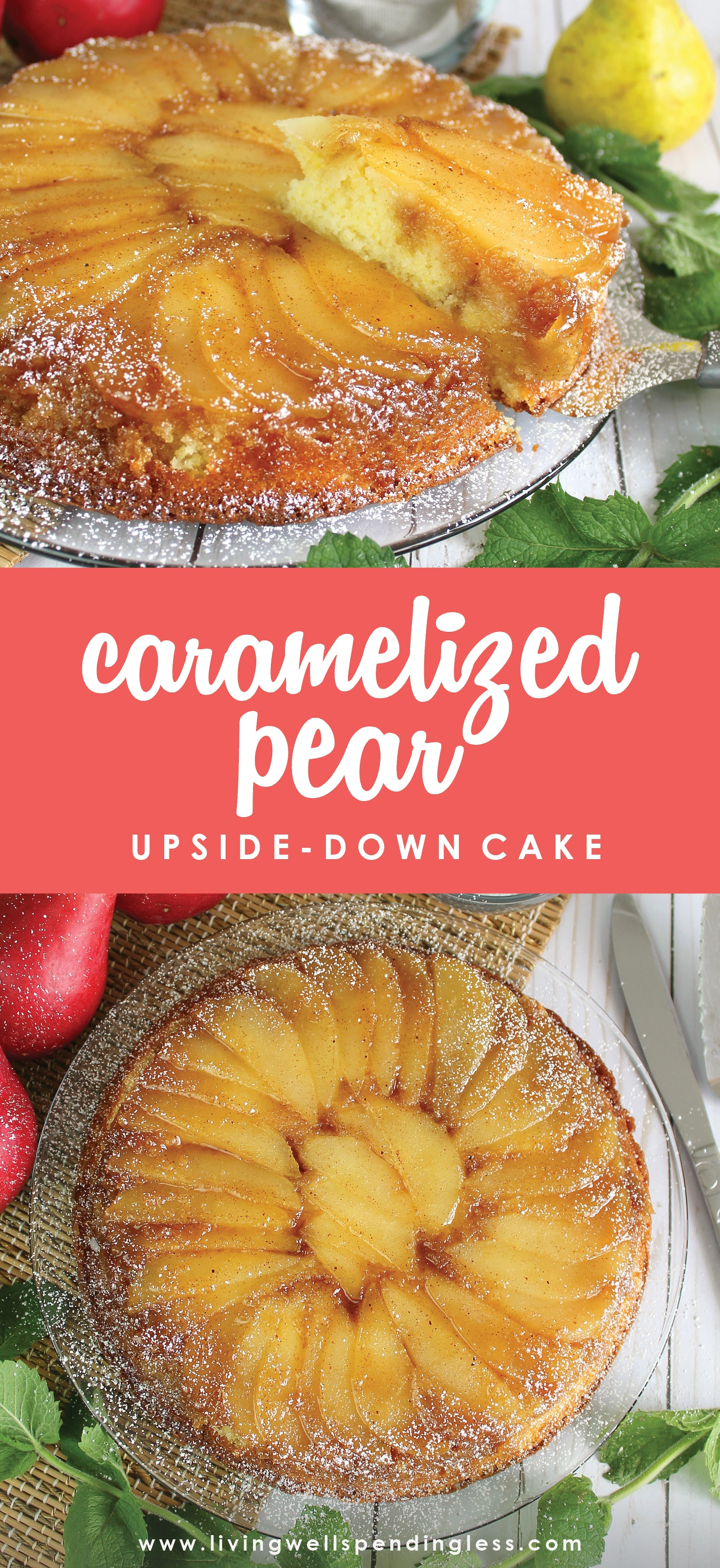 Wanna know one of my favorite desserts? It has to be this Caramelized Pear Upside Down Cake. It's easy, tastes delicious, and is sure to please the whole family.