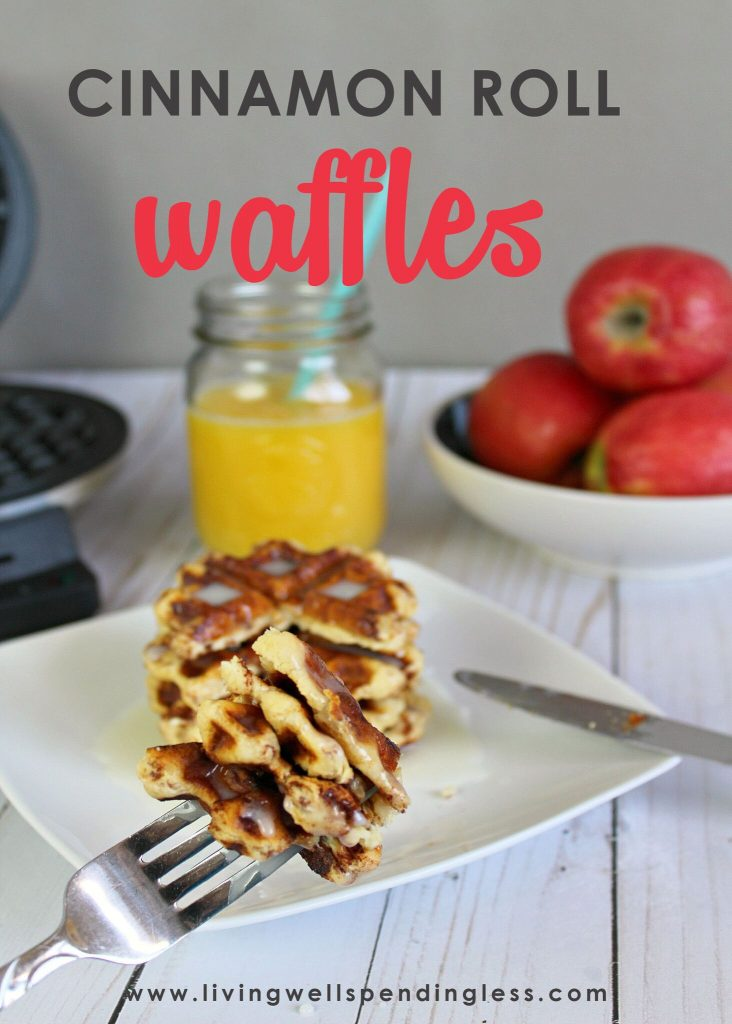 Want something special for breakfast on Saturday? You don't have to spend all morning in the kitchen. Your kids will love these cinnamon roll waffles and you will too with less than 5 ingredients.