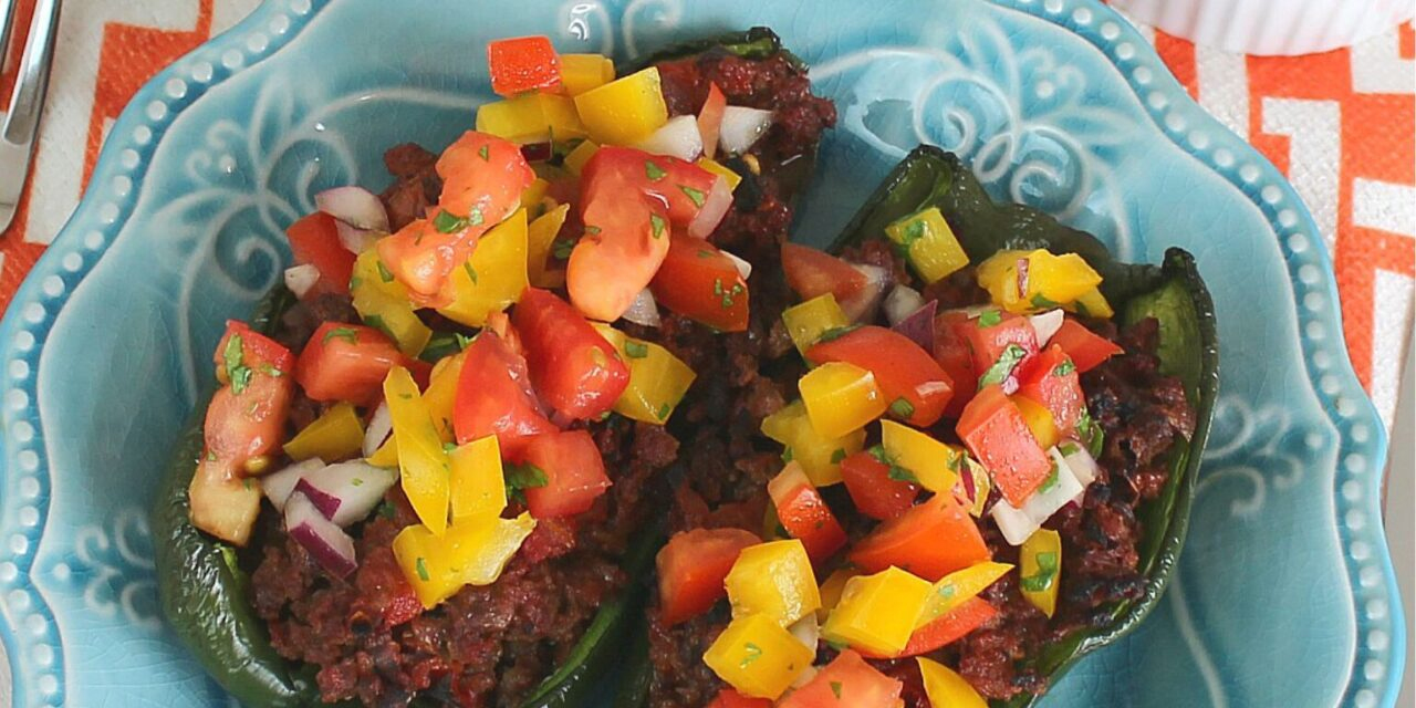 Stuffed Poblanos with Bell Pepper Salsa