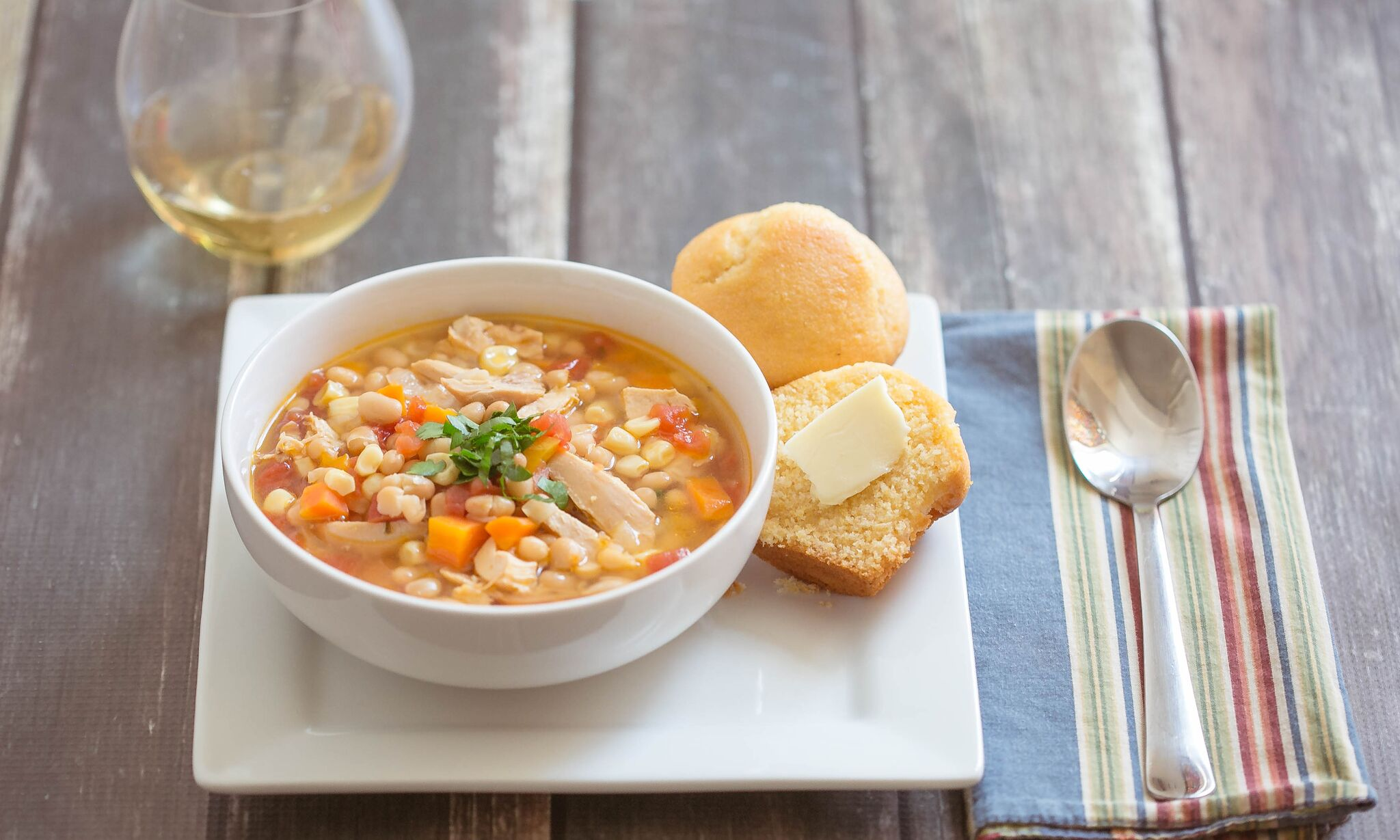 Serve this spicy chicken and bean soup with a side of cornbread for a delicious fall meal
