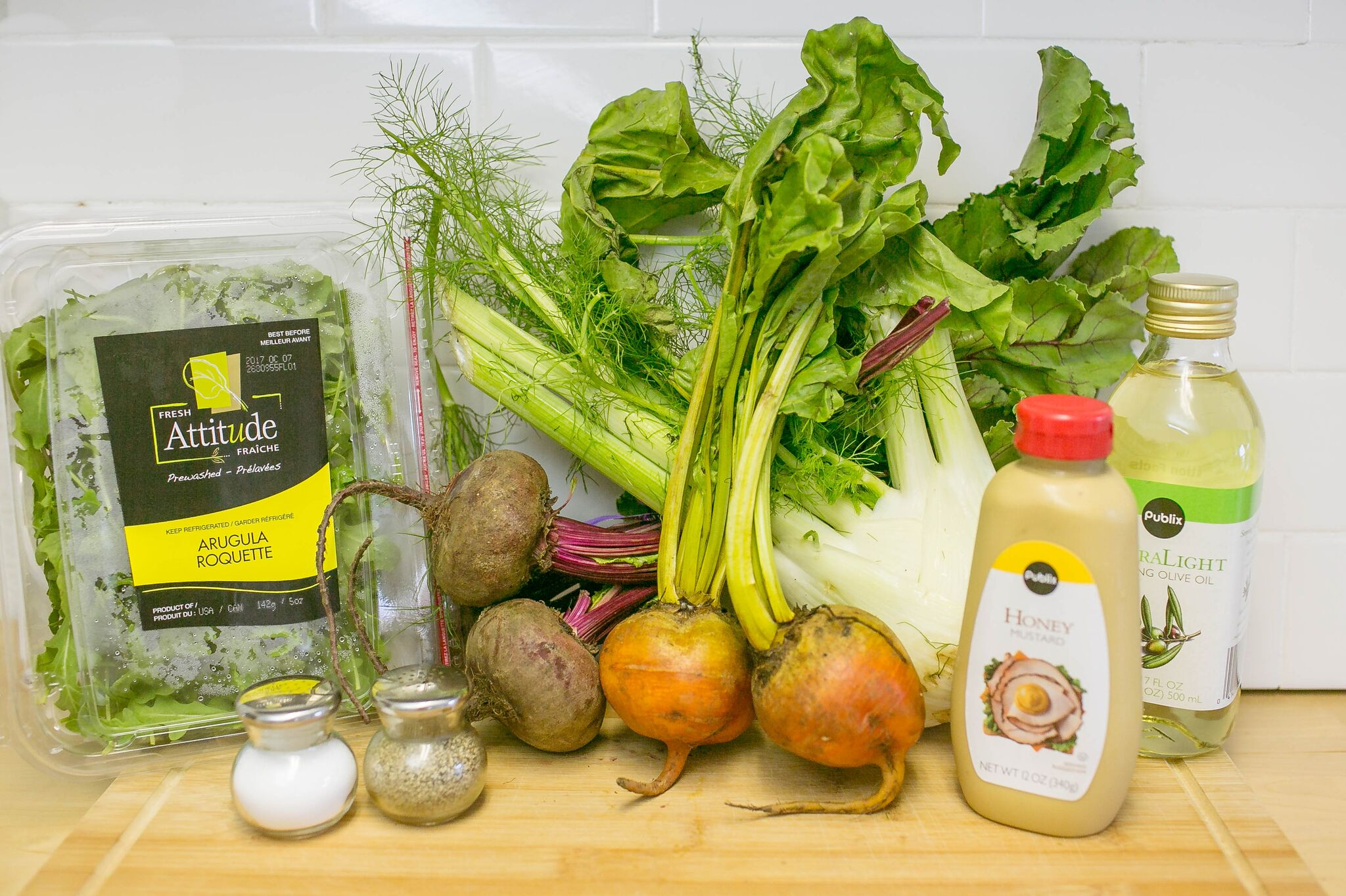 Ingredients for roasted beets and fennel salad