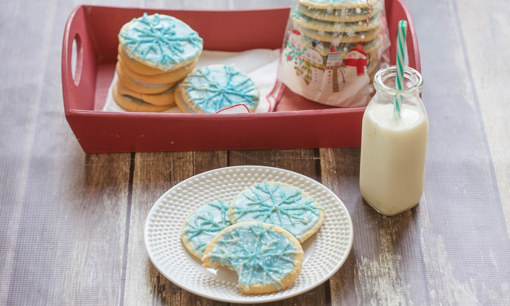 Serve holiday cookies with a cold glass of milk.